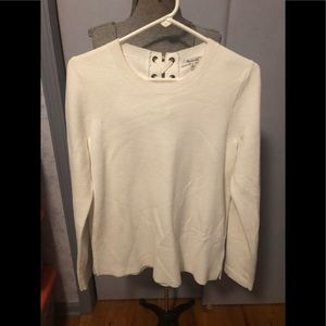 Madewell white pullover sweater, back laced M